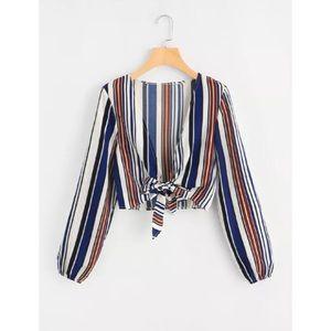 NWOT Striped Vneck Crop Top w/ Front Tie